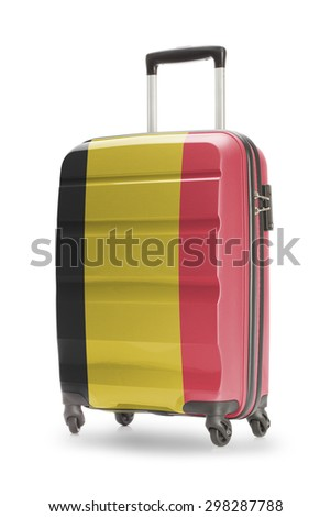 Suitcase painted into national flag - Belgium