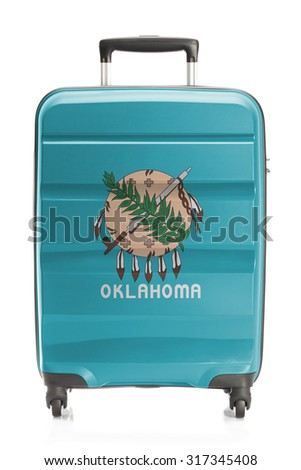 Suitcase painted into US state flag series - Oklahoma - stock photo