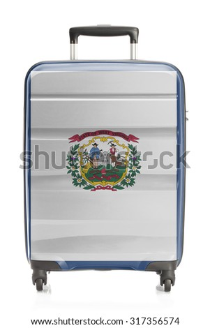 Suitcase painted into US state flag series - West Virginia - stock photo