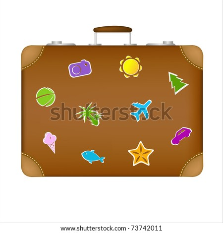Suitcase Travel Stickers, Isolated On White Background - stock photo