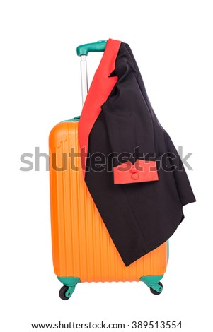 suitcase with black suit - stock photo