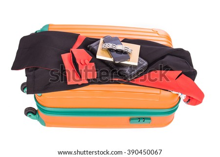 suitcase with black suit