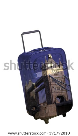 Suitcase with Bridge Tower. Travel concept  - stock photo