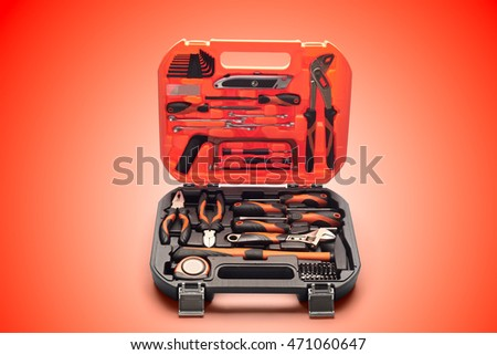 suitcase with construction tools