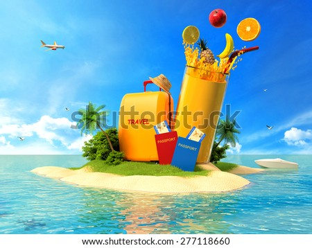 Suitcase with palm trees, juice and passports on the tropical island - stock photo