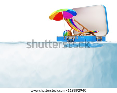 Suitcase with Vocation Accessories in Water isolated on white background - stock photo