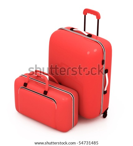 Suitcases isolated on a white background - stock photo