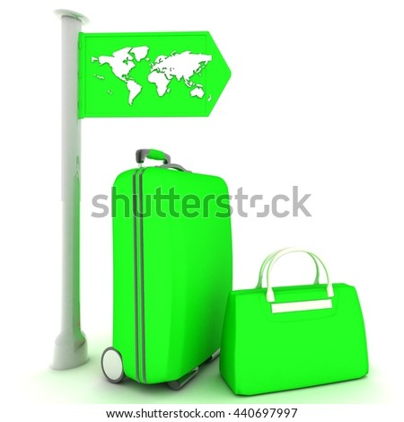 SUITCASES ON A WHITE BACKGROUND 3D rendering