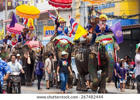 SUKHOTHAI - APRIL 7 : Sukhothai ordination parade on elephant back festival at Hadsiao Temple,Si Satchanalai from April 7 ,Riding on elephant and Thai Puan ordination on April 7, 2015 in Sukhothai.