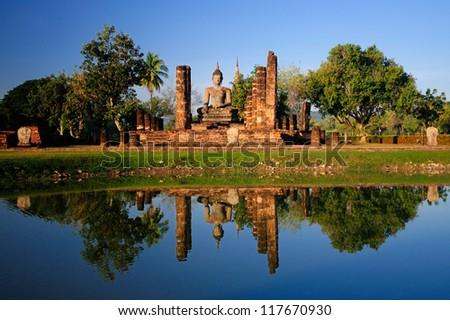 Sukhothai Historical Park in Thailand - stock photo