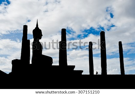 Sukhothai historical park the old town of Thailand Ancient Buddha Statue at Wat Mahathat in Sukhothai Historical Park,Thailand - stock photo