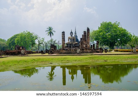 Sukhothai historical park, the old town of Thailand in 800 year ago