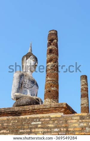 SUKHOTHAI, THAILAND - January 3, 2016: Ancient Buddha Statue at Sukhothai historical park, Mahathat Temple ,Thailand.