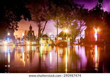 SUKHOTHAI,THAILAND - NOVEMBER 21 : Light and sound show at Loy Kratong festival on November 21, 2010.Loy Kratong festival happen in all of Thailand. - stock photo