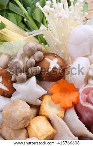 Sukiyaki Fresh Beef pork slices,Japanese Food - stock photo