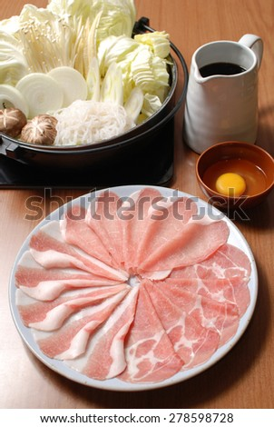 Sukiyaki Fresh Beef pork slices, Vegetable, Dinner Set - stock photo