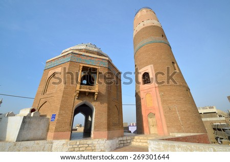 SUKKUR, PAKISTAN - MARCH 28 2015: Minaret of Masum Shah was built in 1607 during the Mughal Empire and the height of it is 31 meters. Masum Shah was a sixteenth century historian. - stock photo