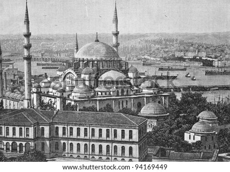 "Suleiman Mosque in Istanbul (Turkey). Engraving by  Rashevsky. Published in magazine ""Niva"", publishing house A.F. Marx, St. Petersburg, Russia, 1893 - stock photo"