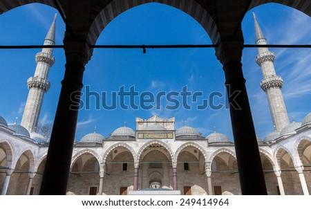 Suleymaniye mosque. courtyard and minarets. Istanbul - stock photo