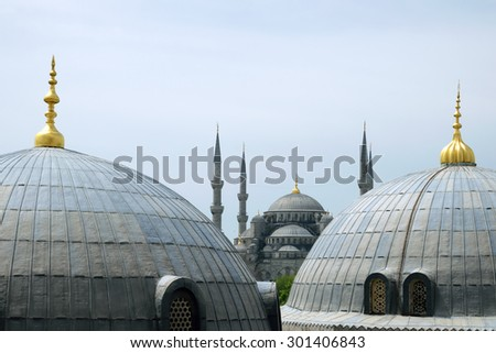 Suleymaniye Mosque just behind the domes in Istanbul, Turkey