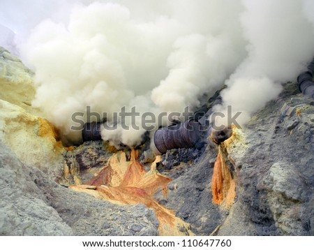 sulfur fumes - stock photo