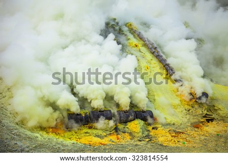 Sulfur mine Inside crater of Ijen volcano, East Java, Indonesia - stock photo