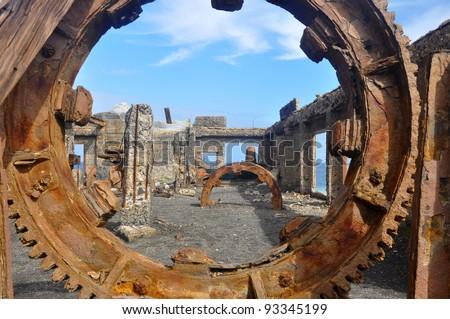 Sulhpur Mine ruins on White Island, New Zealand - stock photo