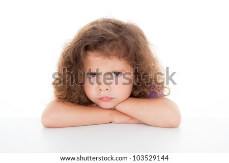 sulky angry young girl child, sulking and pouting, - stock photo