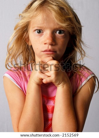 Sullen Bedhead Pinky Girl - stock photo