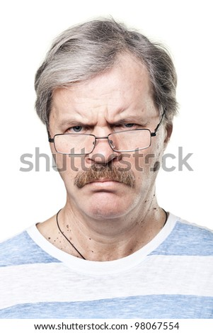 sullen caucasian mature man in glasses isolated on white background - stock photo