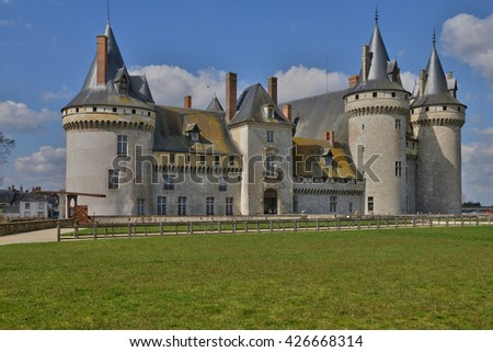 Sully sur Loire, France - april 4 2015 : the medieval castle in spring