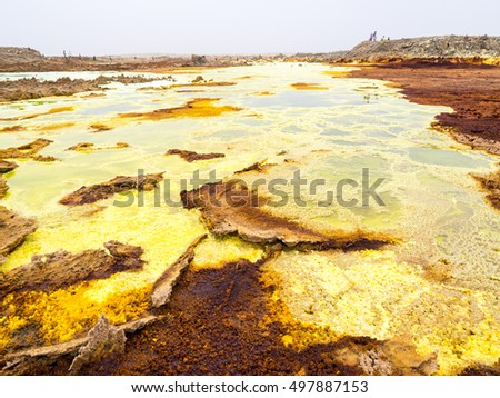 Sulphur lake Dallol in a volcanic explosion crater in the Danakil Depression, northeast of the Erta Ale Range in Ethiopia. The lake with its sulphur springs is the hottest place on Earth.
