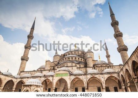 Sultan Ahmed ancient Mosque, it is a historic mosque located in Istanbul, Turkey, one of the most popular city landmarks. It was built between 1609 and 1616 during the rule of Ahmed I - stock photo