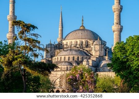 Sultan Ahmed Mosque, also known as the Blue Mosque, in the morning,  Istanbul, Turkey. - stock photo