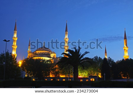Sultan Ahmed Mosque at night. Historic mosque in Istanbul, Turkey also known as the Blue Mosque for the blue tiles adorning the walls of its interior - stock photo