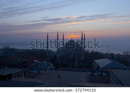 Sultan Ahmed Mosque (Blue Mosque) at sunrise, Istanbul, Turkey - stock photo