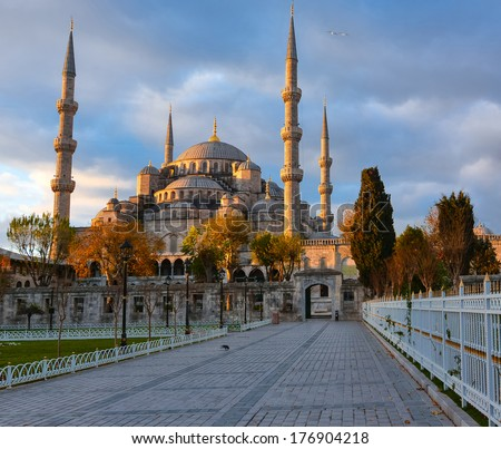 Sultan ahmed Mosque is located in the city of Istambul. It was built during the ruel of Ahmed I. It's populary known as the Blue Mosque - stock photo