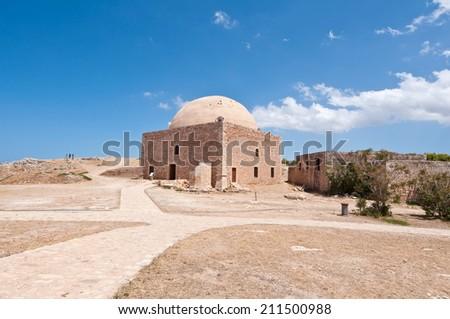 Sultan Ibrahim mosque Inside the Fortezza of Rethymno. Crete, Greece. - stock photo