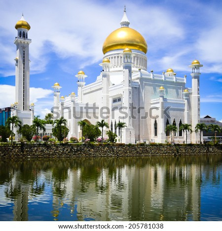 Sultan Omar Ali Saifuddin Mosque in Brunei - stock photo