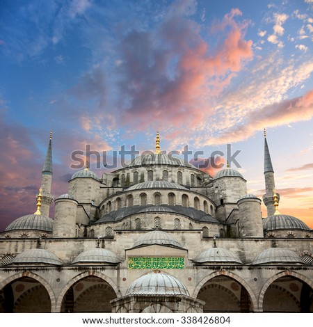 Sultanahmet Blue Mosque and beautiful sunrise sky with colorful clouds, Istanbul, Turkey, big size - stock photo