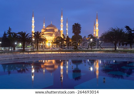 Sultanahmet Blue Mosque at dusk, Istanbul, Turkey - stock photo