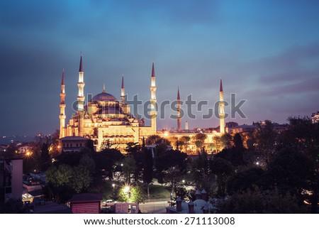 Sultanahmet Blue Mosque night view, Istanbul, Turkey - stock photo