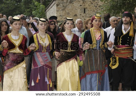 SUMELA MONASTERY, TRABZON, TURKEY - AUGUST 15, 2008: Greek dancers during the celebration of Dormition of the Mother of God. The Greeks were expelled from Turkey in 1923