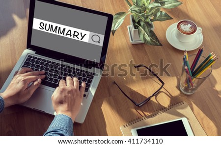 SUMMARY CONCECT man hand on table Business, coffee, Split tone - stock photo