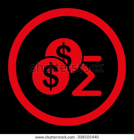 Summary glyph icon. This flat rounded symbol uses red color and isolated on a black background. - stock photo