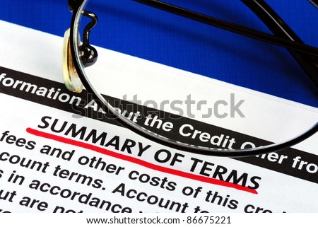 Summary of terms in a credit card offer