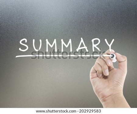 summary text with hand writing