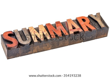 summary word abstract - an isolated banner in vintage letterpress wood type blocks stained by color inks - stock photo
