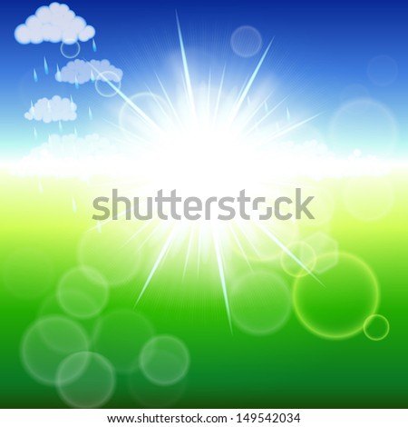 Summer abstract background with sunbeams.
