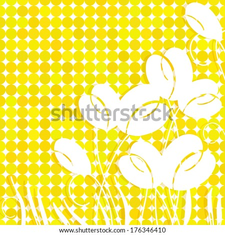 Summer abstract spring flowers on yellow backdrop, jpeg version - stock photo